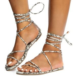 Liliana Snakeskin Wrap around Sandals